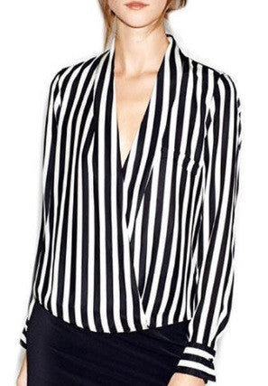 Women's Formal Long Sleeve V Neck Blouse