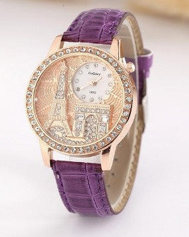 Women's Eiffel Tower Luxury Leather Rhinestones Watch