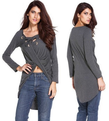 Women's Long Sleeve Lace-Up Blouse - 3 Colors!
