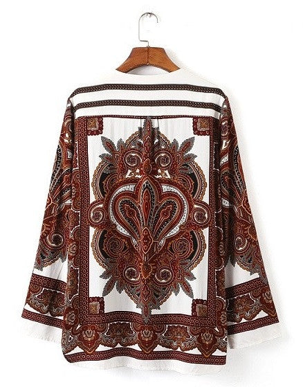 Women's Tribal V Neck Zipper Blouse