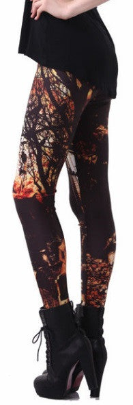 Women's Haunted House Halloween Leggings