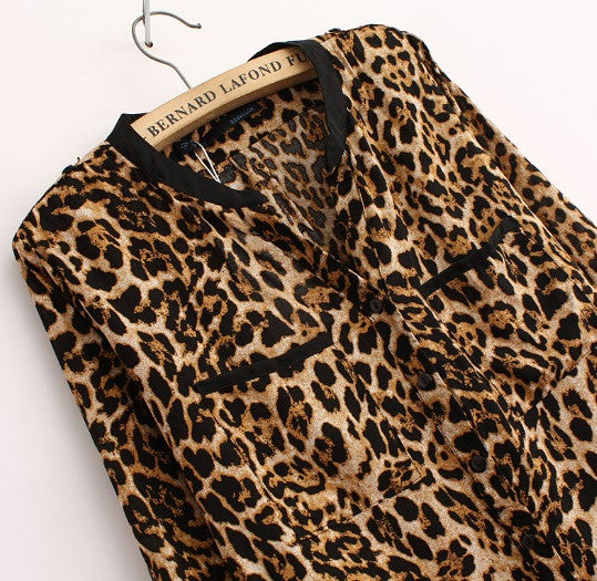 Women's Long Sleeve Leopard Blouse