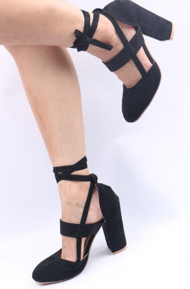 Women's Lace Up Square Heel Pumps- 3 Colors!