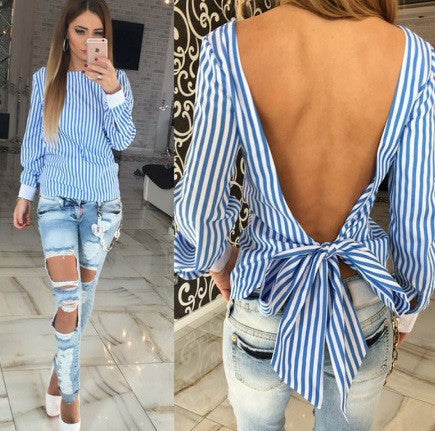 Women's Long Sleeve Backless Blouse