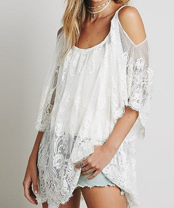 Women's off the Shoulder Lace Blouse - 2 Colors!