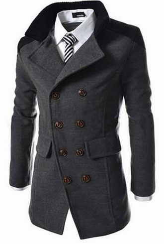 Men's Double Breasted Peacoat - 3 Colors!