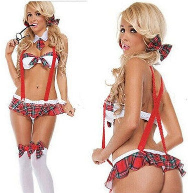 Womens Seductive Plaid School Girl Uniform Lingerie