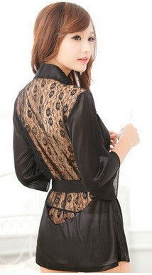 Women's Satin Lace Lingerie Robe