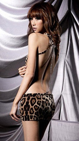 Women's Leopard Backless Lingerie Evening Dress