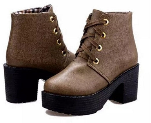 New Fashion Lace Up Platform Heels Ankle Boots