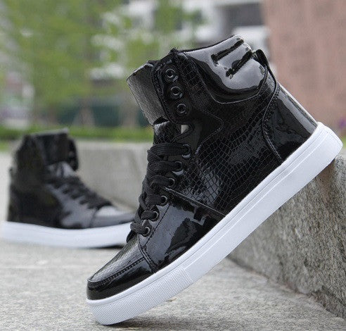 Men's Snake Skin Black High Top Sneakers - Hot100Fashions