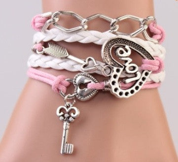 Women's Love Heart Key Bracelet