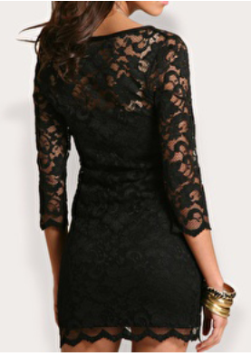 Women's Lace Mini Black Dress
