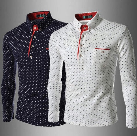 Men's Long Sleeve Polka Dot Shirt - Hot100Fashions