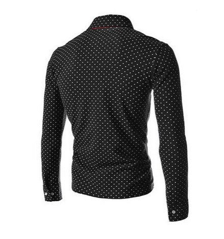 Men's Long Sleeve Polka Dot Shirt