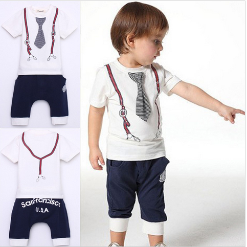New Kids Boy Cotton Tie Belt Print Top T Shirt Short Pants Tops 1-5Y - Hot100Fashions