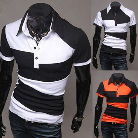 Hot Selling New Summer Men Fashion Hit Colors Stitching Short Sleeve Slim Fit Lapel - Hot100Fashions