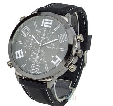 Men's Cool Super Large Dial Sport Quartz Steel Silicone Band Wrist Watch - Hot100Fashions