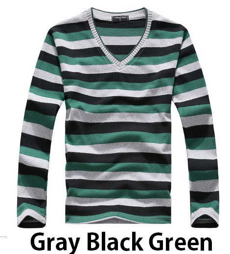 Men's Cotton Striped V-Neck Sweater