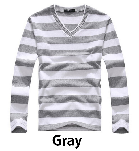 Men's Cotton Striped V-Neck Sweater - Hot100Fashions