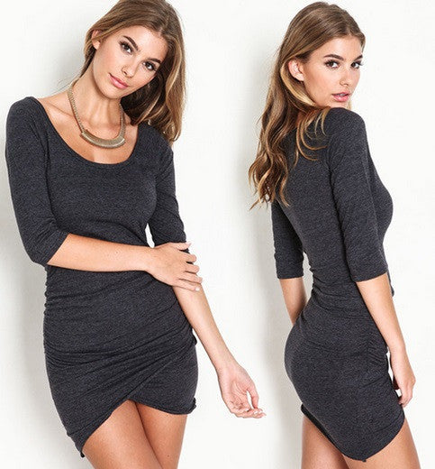 Women's Sexy Wrap Dress - Half Sleeve