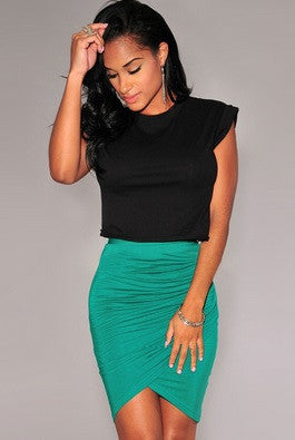 New Fashion Women Skirt Stretch Draped High Waist