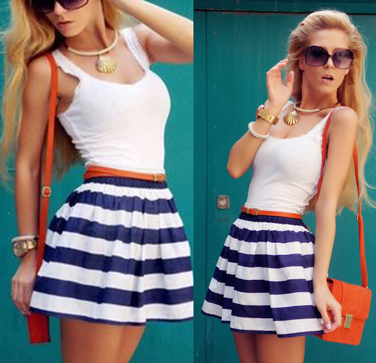 Women's Cotton Striped Mini Dress