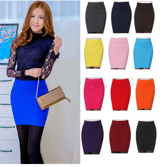 Women's Sexy Candy Color Elastic High Waist Stretchy Skirt