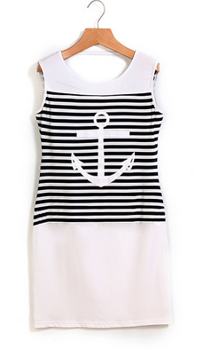 Women's Sleeveless Round Neck Striped Anchor Dress