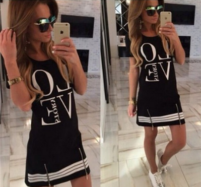 Women's LOVE Printed Short Sleeve Fashion Dress