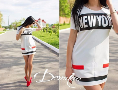 Women's NEW YORK Printed Short Sleeve Fashion Dress