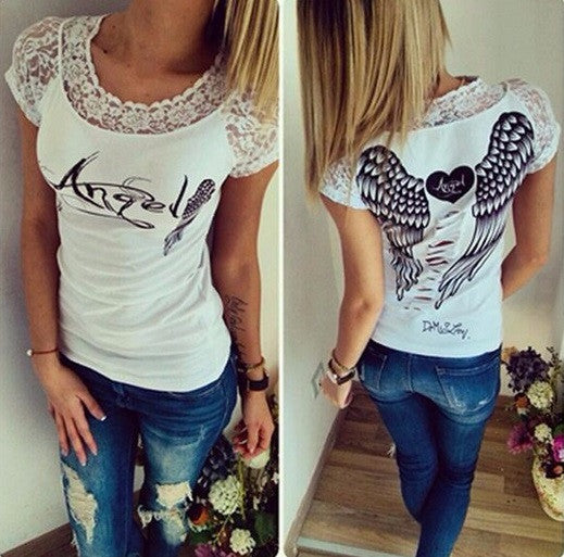Sexy Cut Out Lace Angel Wings T Shirt - Hot100Fashions