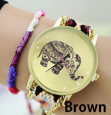 Women's Braided Elephant Friendship Bracelet Watch