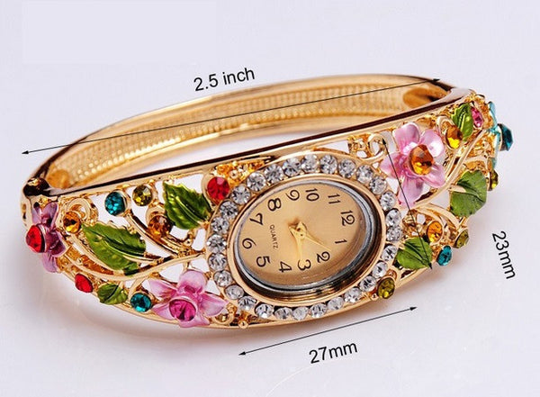 Women's 18k Gold Filled Crystal Flower Watch