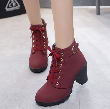 Winter Ankle Boots High Heels Snow Leather Boots