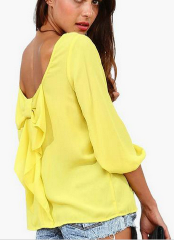 Women's Sexy Bow Knot Blouse - 4 Colors