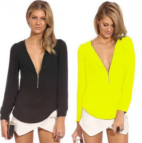 Women's Sexy V-Neck Long Sleeve Blouse - 6 Colors!