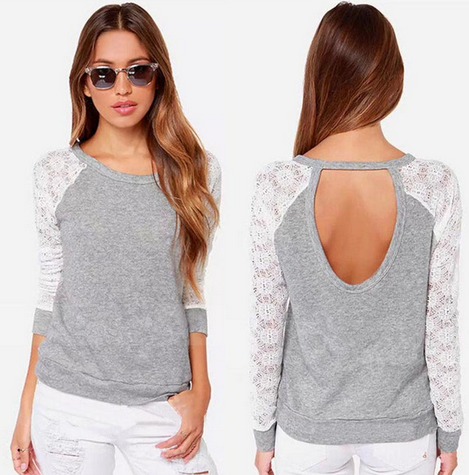 Women's Backless Long Sleeve Lace Blouse
