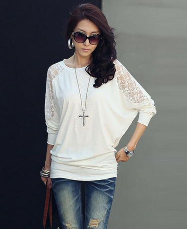 Women's Hollow Sleeves Sexy Lace Blouse