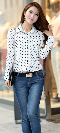 Women's Long Sleeve Polka Dot Blouse - 3 Colors!