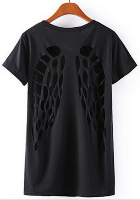 Women's Hollow Out Backless Angel Wings Women Shirt