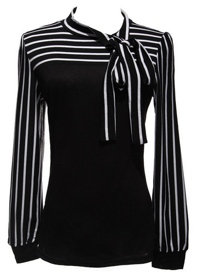Women's Bowknot Striped Blouse - PLUS SIZES - 2 Colors!