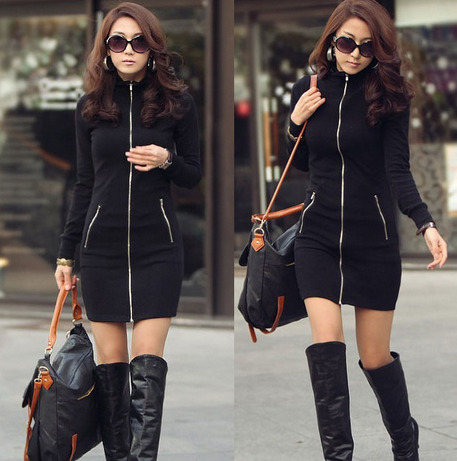 Women's Sexy Mini Black One Piece Zip Up