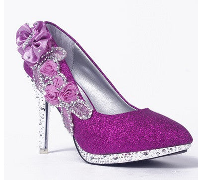 Women's Gorgeous Crystal Flower High Heels