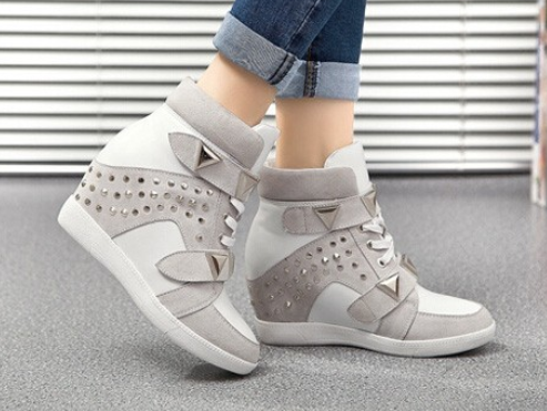 Women's Leather High Top Rivet Sneakers