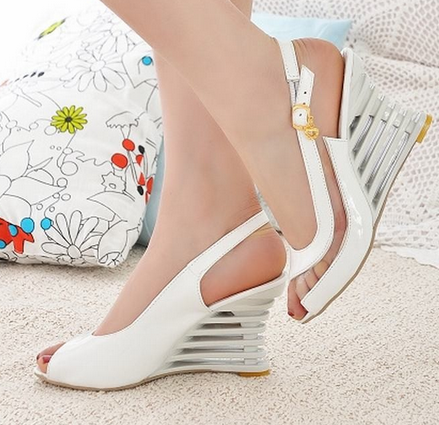 Women's High Wedge Ankle Strap Buckle Open Toe Transparent Shoes