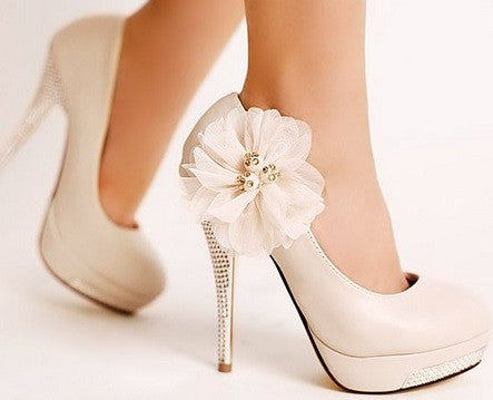 Women's Floral & Crystal Pumps - 2 Colors!