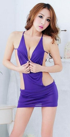 Women's Backless Lingerie Mini Evening Dress