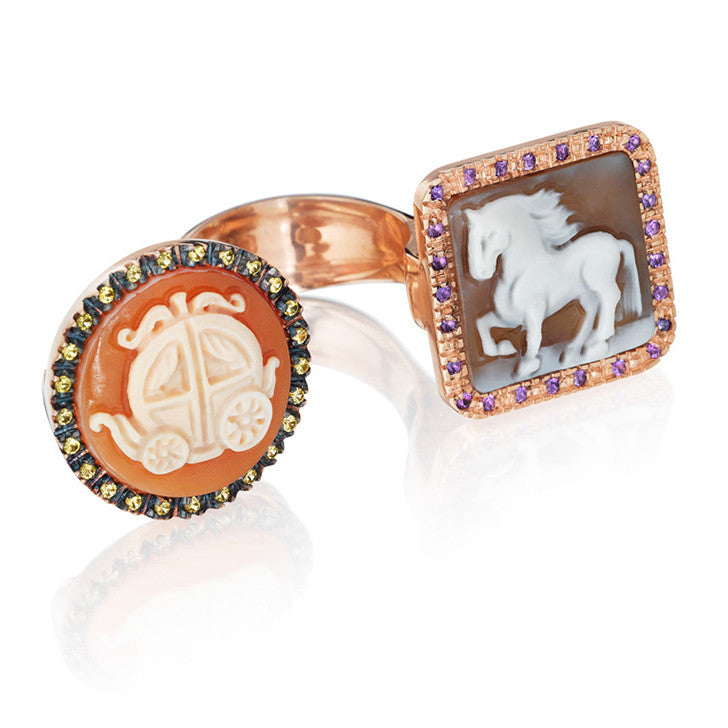 """Fiaba""Double Cameo Ring"