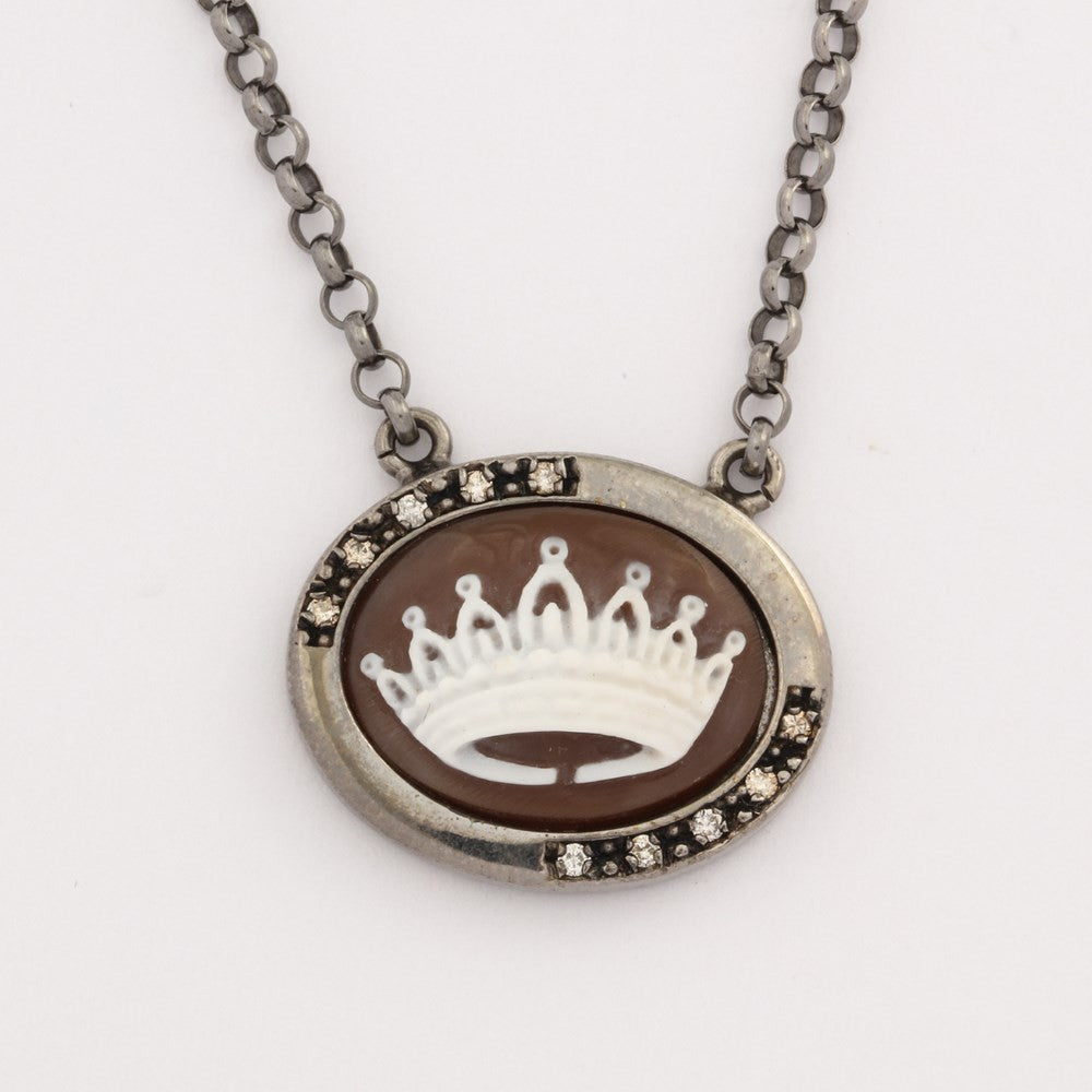 """Incoronata"" Crown Cameo Necklace"